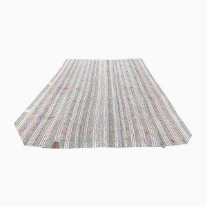 Handgefertigter türkischer Vintage Kelim Oushak Teppich aus Flachsilber in Silbertönen
