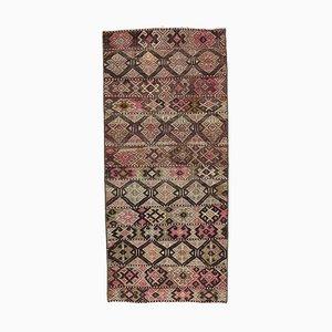 Turkish Vintage Kilim Oushak Handmade Wool Flatweave Mini Rug