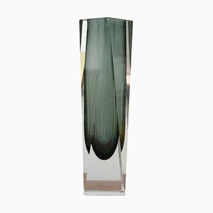 Grey Hand-Crafted Murano Glass Vase by Flavio Poli from Mandruzzato, Italy, 1960