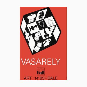 Expo 83 Art Basel Chess Red Background Poster by Victor Vasarely