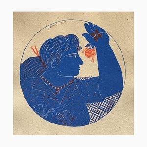 Woman and Rose de Alecos Fassianos