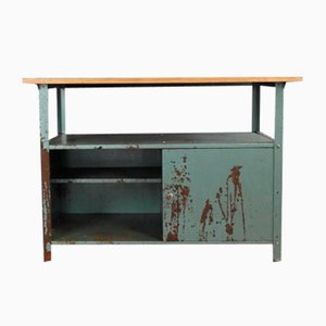 Industrial Workbench with Oak Leaf