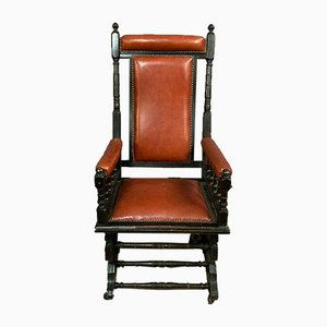 English Blackened Pear Officer's Rocking Chair, Circa 1850