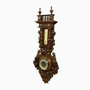 Large Renaissance Style Walnut Barometer & Thermometer Set, 1850s