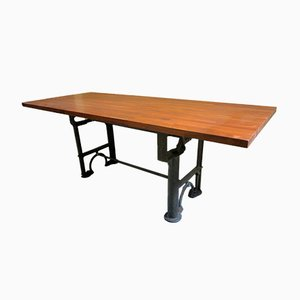 Large Mahogany Dining Table on Antique Industrial Base