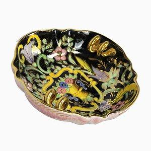 Piatto Art Deco in ceramica dipinto a mano di H. Bequet, anni '20