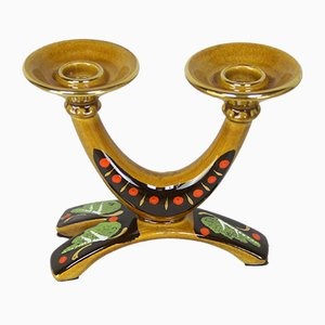 Hand-Decorated Curved Candleholder, 1960s
