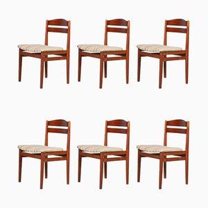 Gepolsterte Dänische Teak Esszimmerstühle, 1960er, 6er Set