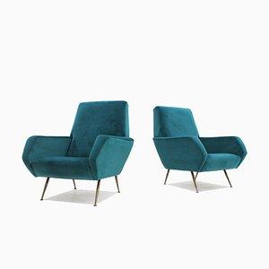 Mid-Century Italian Turquoise Velvet Armchairs, 1950s, Set of 2