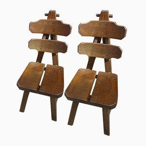 Chaises Brutalistes en Chêne Massif, Espagne, 1970s, Set de 2