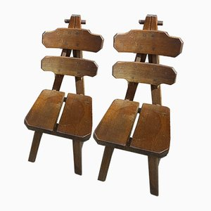 Spanish Brutalist Solid Oak Chairs, 1970s, Set of 2