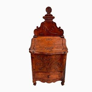Caja de sal francesa antigua de roble, siglo XIX