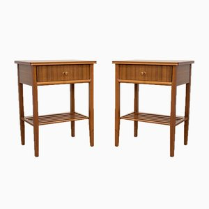 Mid-Century Walnut & Teak Bedside Tables by Peter Hayward for Vanson, Set of 2