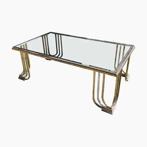 Mid-Century Modern Steel Chromed & Brass Coffee Table by Banci Firenze, 1970s