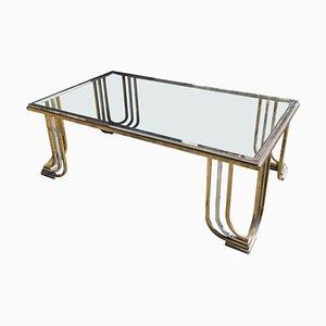 Table Basse Mid-Century Moderne en Acier Chromé & Laiton par Banci Firenze, 1970s