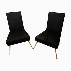 Italian Mid-Century Modern Black Velvet & Brass Armchairs by Gio Ponti, 1950s, Set of 2