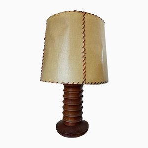 French Wood Table Lamp by Charles Dudouyt, 1930s
