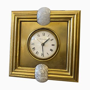 Mid-Century Modern Brass & Murano Glass Table Clock by Tommaso Barbi, 1970s