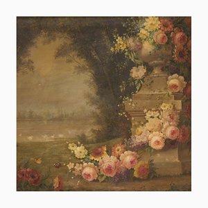 Elegante paesaggio con fiori, firmato e datato, 1938