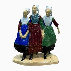 Vintage 'Three Girls of Plougastel' Figurine by Armel Beaufils
