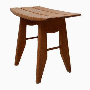 Mid-Century French Oak Stool by Guillerme et Chambron