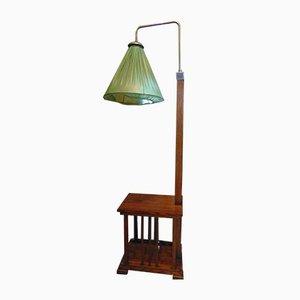 Vintage Art Deco Stehlampe aus Holz mit eingebautem Tisch
