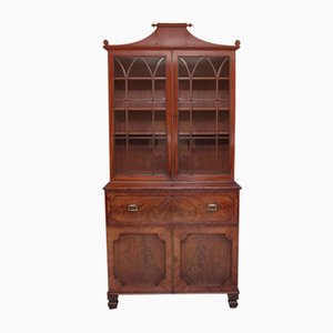Flame Mahogany 2-Piece Secretaire Bookcase / Cabinet, Early 1800s, Set of 2