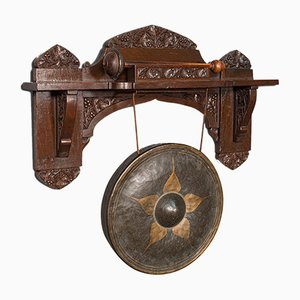 Antique Indian Oak Ceremonial Monastery Gong, 1900