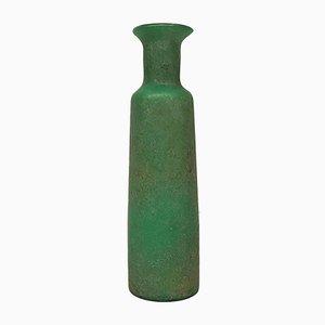 Grüne italienische Scavo Glasvase mit matter Oberfläche, 1960er