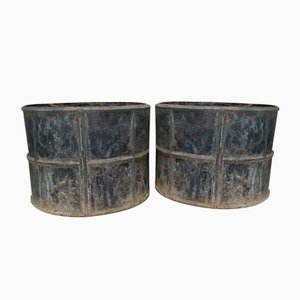 Antique Edwardian Lead Planters, Set of 2