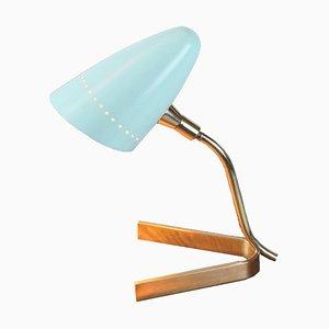 Artelluce Tischlampe aus Messing & Babyblau mit Dreifuß, 1950er