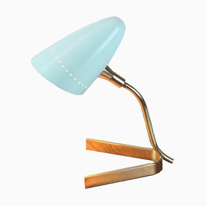 Arteluce Style Brass and Baby Blue Tripod Table Lamp, 1950s