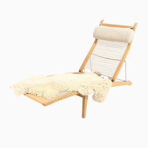 Model PP-524 Deckchair with Head Cushion & Sheepskin by Hans J. Wegner for PP Møbler, Denmark, 2005