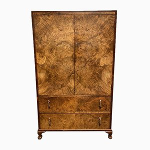 Art Deco Burr Walnut Bedroom Cupboard, 1930s