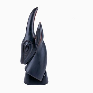 Large Stoneware Antelope Sculpture in Matte Brown Glaze & Satin-Gloss Black Lacquered Wooden Base by Gunnar Nylund for Rörstrand, Sweden, 1950s