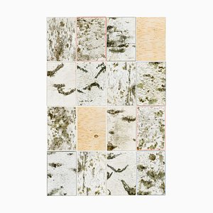 Kleine Natur Birkenholz Wandtafel mit Moos & Flechten von Moya