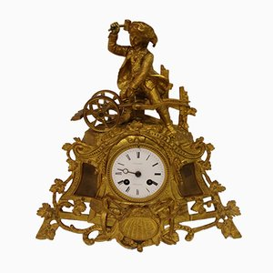 Horloge Antique en Bronze Doré de Couturier Rambouillet
