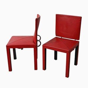Roter Vintage Leder Esszimmerstuhl von B & B für B & B Italia / C & B Italia