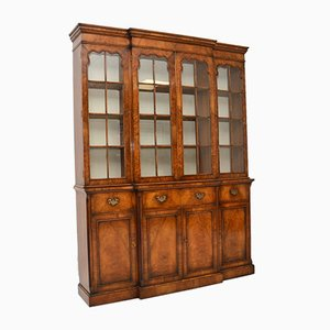 Antique Georgian Style Walnut Breakfront Cabinet