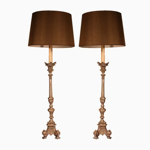 Vintage Italian Silver-Plated Bronze Torchiere Lamps, 1900s, Set of 2