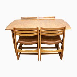 Ausziehbarer Teak Esstisch & Stühle von Portwood, 1960er, 5er Set