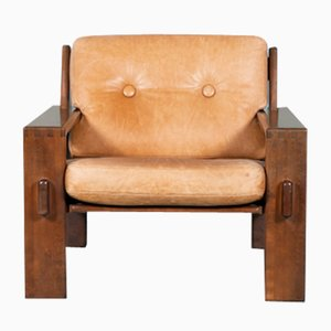 Finnish Brutalist Cognac Leather Bonanza Lounge Chair by Esko Pajamies for Asko, 1970s