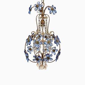 Lampadario Mid-Century in vetro blu, anni '60