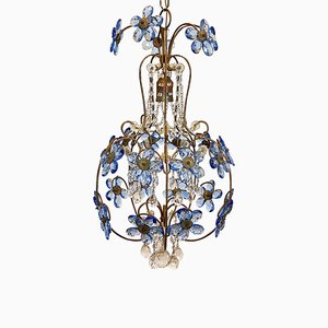 Mid-Century Blue Glass Chandelier, 1960s