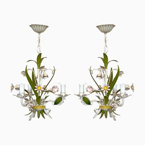 Mid-Century Metal Chandeliers, 1960s, Set of 2