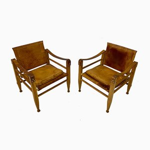 Danish Oak & Leather Safari Chairs, 1970s, Set of 2