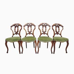 Esszimmerstühle aus Nussholz, 1800er, 4er Set