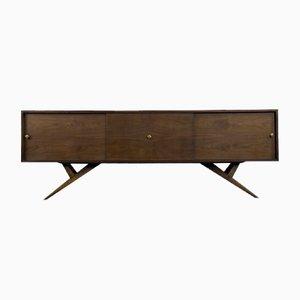 Mid-Century Modern Scandinavian Walnut & Brass Sideboard, 1960s