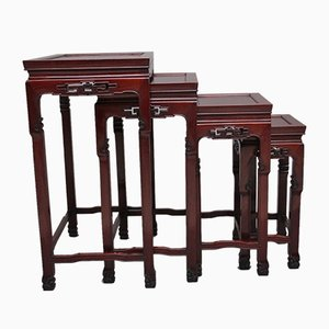 Tables Gigognes Antiques, Chine, 1900s, Set de 4