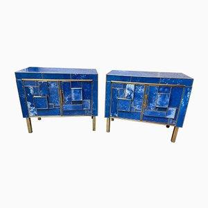 Comodini vintage blu, anni '70, set di 2
